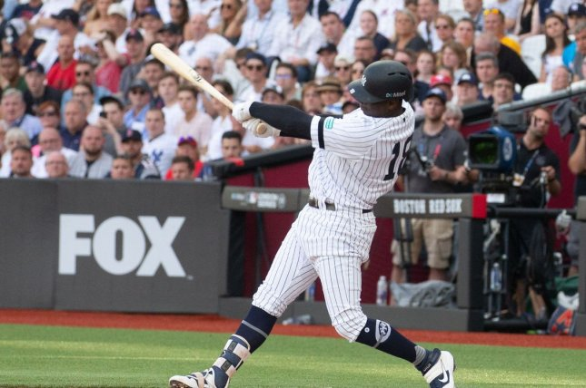 New York Yankees shortstop Didi Gregorius hit his third home run of the year in Sunday's 12-8 victory over the Boston Red Sox in London. Photo by Mark Thomas/UPI