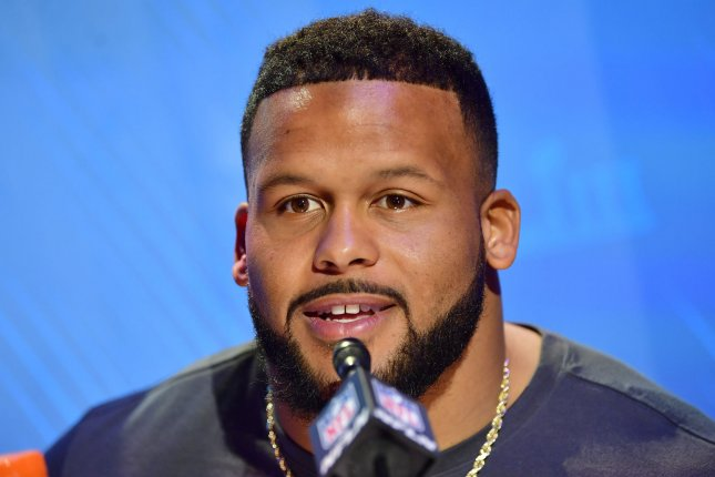 Los Angeles Rams defensive tackle Aaron Donald led the NFL with a career-high 20.5 sacks in 16 starts last season. Donald also had 59 tackles, a league-high 25 tackles for a loss, four forced fumbles, two fumble recoveries and a pass defensed in 2018. File Photo by Kevin Dietsch/UPI