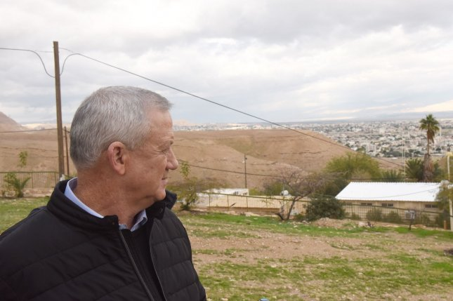 Israeli opposition leader Benny Gantz looks at the Jordan Valley in the Israeli settlement of Vered Jericho in the West Bank on January 21. Gantz had promised to annex the valley if he was elected prime minister. File Photo by Debbie Hill/UPI