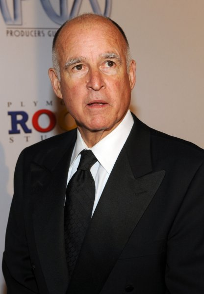 California Attorney General Jerry Brown, shown at an event in Los Angeles Jan. 24, 2009. (UPI Photo/Jim Ruymen)
