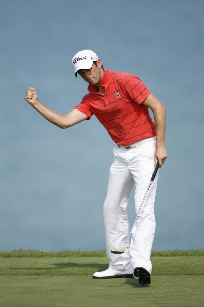 Gregory Bourdy, shown in a 2010 file photo, has taken the lead after 36 holes of the European Tour's Spanish Open. UPI/Brian Kersey
