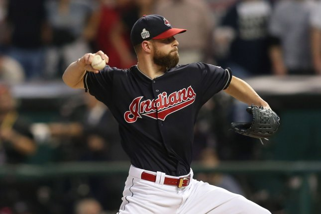 Indians pitcher Corey Kluber delivers a pitch. Kluber was activated from the disabled list on Thursday. File photo by Aaron Josefczyk/UPI