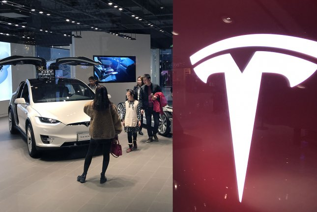 A Tesla showroom in Beijing. The U.S. electric carmaker acquired land in China for an undisclosed sum, according to local media. File Photo by Stephen Shaver/UPI