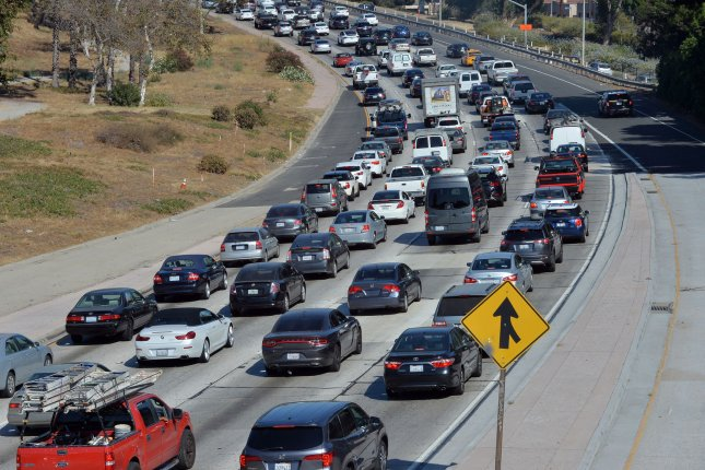 Traffic heads south on the 101 Freeway toward downtown Los Angeles on August 3, 2018. The Trump administration on Thursday recommended freezing mile-per-gallon standards for cars and light trucks after the 2020 model year. Several states are fighting the rollback of emission standards. Photo by Jim Ruymen/UPI