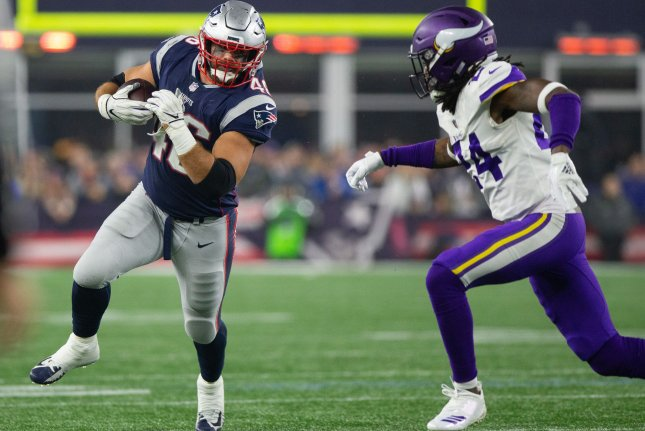 New England Patriots fullback James Develin (46) was a Pro Bowl selection in 2017 and won three Super Bowl titles. File Photo by Matthew Healey/UPI