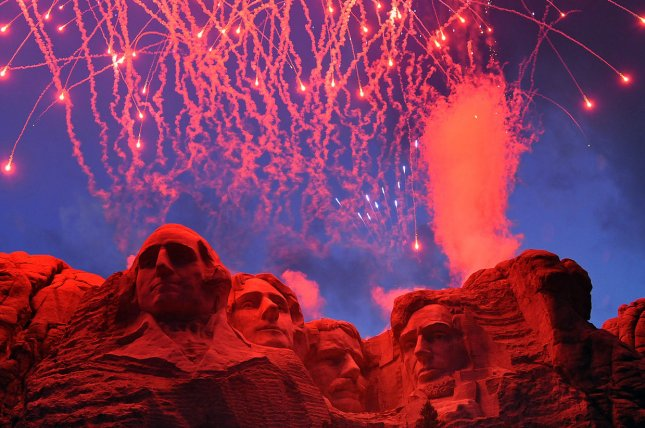 Fireworks will return to Mount Rushmore National Memorial for the first time since 2009 in a special event attended by President and First Lady Donald and Melania Trump Friday. File photo by Mark I. Lane/U.S. Air Force