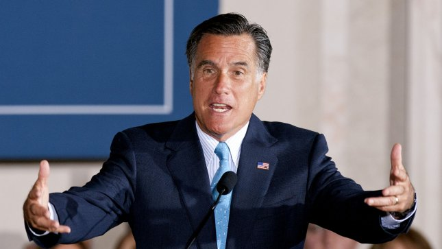 Presumed Republican Presidential candidate Mitt Romney speaks at the Tri-State Tax Day Tea Summit at the Franklin Institute in downtown Philadelphia on April 16, 2012. John Anderson/UPI