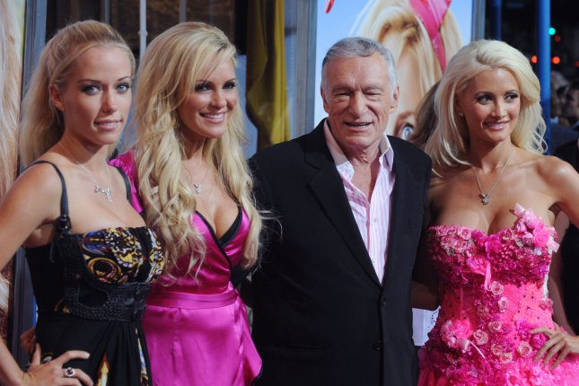 Kendra Wilkinson, Bridget Marquardt, Hugh Hefner and Holly Madison (L-R) at the Los Angeles premiere of 'The House Bunny' on Aug. 20, 2008. Wilkinson slams Madison for her unflattering portrait of Hefner on Friday's episode of 'Kendra on Top.' File Photo by Jim Ruymen/UPI