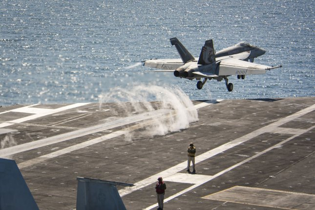An F/A-18E Super Hornet from the Kestrels of Strike Fighter Squadron 137 launches on May 2, 2017, from the Nimitz-class aircraft carrier USS Carl Vinson during flight operations in the western Pacific Ocean. Photo by MC3 Matthew Granito/U.S. Navy/UPI