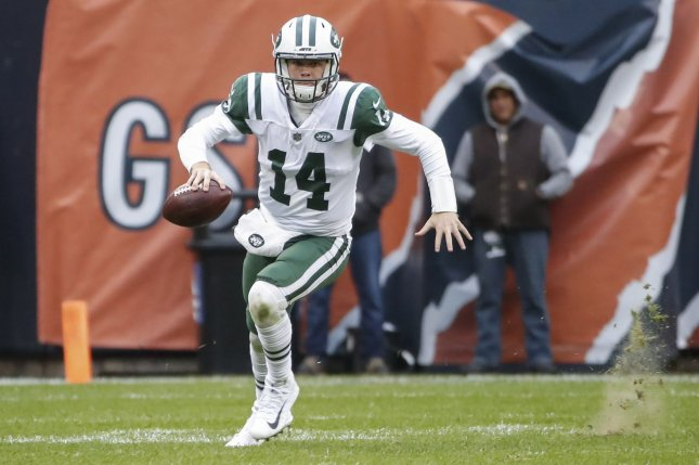 New York Jets quarterback Sam Darnold (14) looks to pass the ball against the Chicago Bears during the second half on October 29 at Soldier Field in Chicago. Photo by Kamil Krzaczynski/UPI