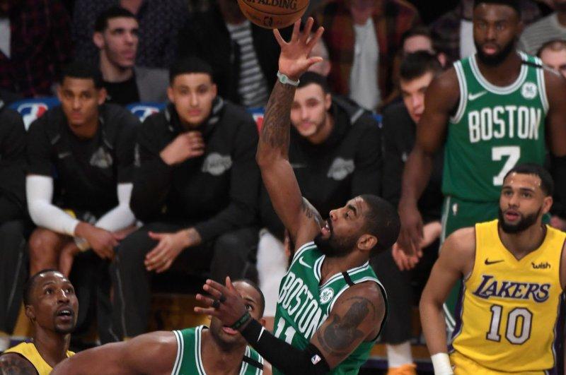 Kyrie Irving and the Boston Celtics take on the Charlotte Hornets on Sunday. Photo by Jon SooHoo/UPI
