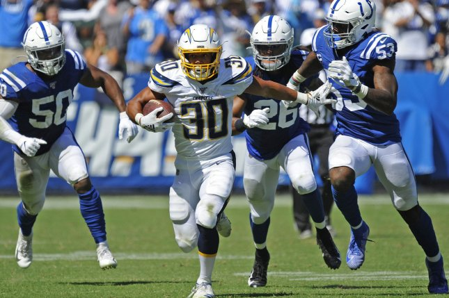 Los Angeles Chargers running back Austin Ekeler has 368 yards from scrimmage and four touchdowns through three games in 2019. Photo by Lori Shepler/UPI