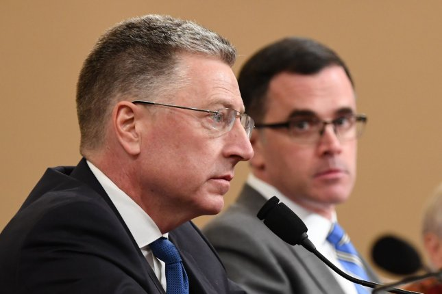 Former State Department special envoy to Ukraine Kurt Volker (L) and former National Security Council Senior Director for European and Russian Affairs Tim Morrison testify before the House Permanent Select Committee on Intelligence as part of the impeachment inquiry into President Donald Trump, on Capitol Hill in Washington, DC, on Tuesday, November 19, 2019. The hearings are looking into whether Trump used military aid as leverage to pressure Ukraine into investigations that would benefit him politically. Photo by Kevin Dietsch/UPI
