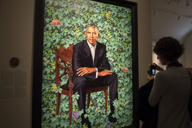 A portrait of former President Barack Obama is displayed at the Smithsonian's National Portrait Gallery in Washington, D.C., on February 13, 2018. Photo by Pat Benic/UPI