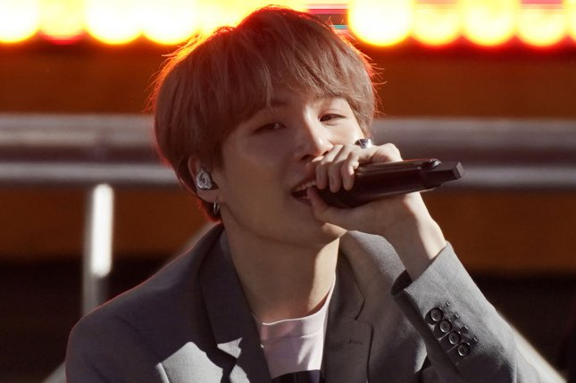 BTS's rapper and songwriter Suga is recovering from shoulder surgery, according to Big Hit Entertainment on Friday. File Photo by John Angelillo/UPI