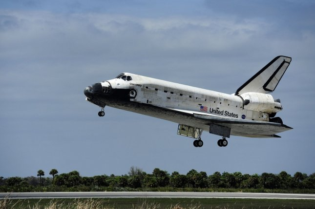 NASA's space shuttle Discovery approaches Runway 15 at the Shuttle Landing Facility for an on-time landing at 11:57 a.m. at the Kennedy Space Center on March 9, 2011. File Photo by Joe Marino-Bill Cantrell/UPI