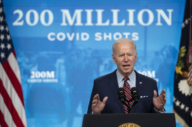 President Joe Biden, shown in Washington on April 21, touts the federal government's success in rolling out 200 million COVID-19 vaccinations. Filephoto by Sarah Silbiger/UPI/Pool