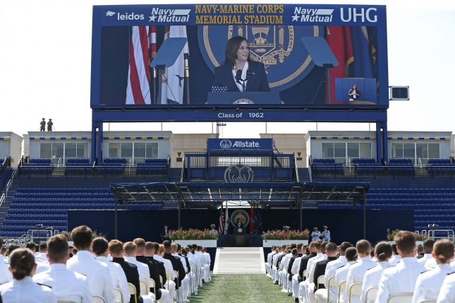 Vice President Kamala Harris speaks at the U.S. Naval Academy Graduation and Commissioning Ceremony on May 28, 2021, at the U.S. Naval Academy in Annapolis, Maryland. Navy football player Cameron Kinley presented a gift to Harris after her speech at the ceremony. File Photo by Tasos Katopodis/UPI