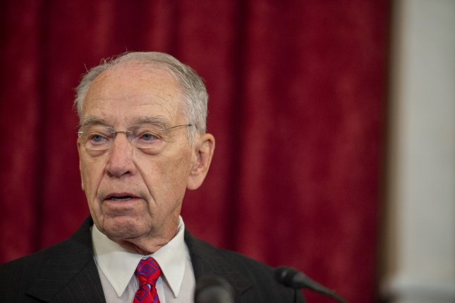 Sen. Chuck Grassley, R-Iowa, speaks to reporters on September15 at the U.S. Capitol in Washington, D.C. The longtime senator, 88, announced on Friday that he will run to hold onto his seat in the 2022 midterm elections. Photo by Bonnie Cash/UPI