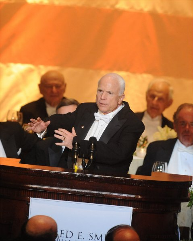 Senator John McCain speaks at the 63rd Annual Alfred E. Smith Foundation Dinner in New York City on October 16, 2008. (UPI Photo/Andrew Theodorakis/Pool)