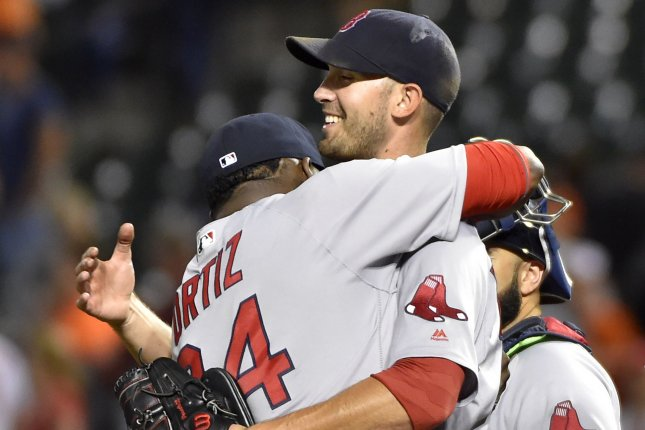 Boston Red Sox starting pitcher Rick Porcello (R) is congratulated by David Ortiz after his 5-2 complete game win against the Baltimore Orioles on 89 pitches with 65 strikes at Camden Yards in Baltimore, September 19, 2016. Photo by David Tulis/UPI