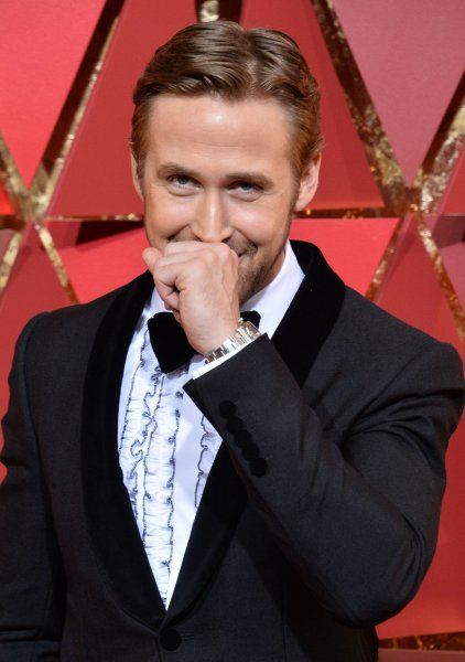 Ryan Gosling attends the Academy Awards on February 26. The actor explained his laugh during the Oscars mix-up at the Adobe Summit this week. File Photo by Jim Ruymen/UPI