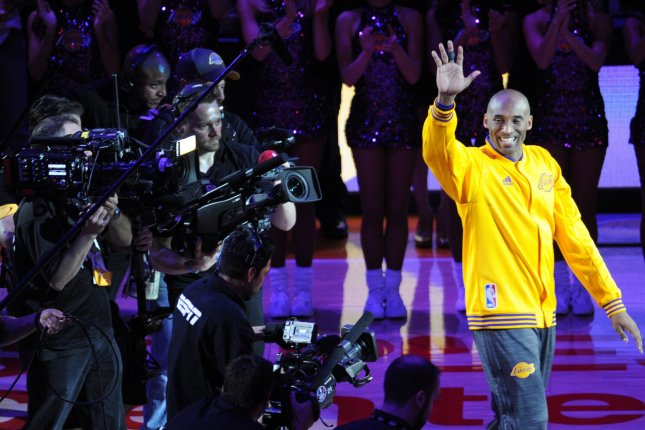 Los Angeles Lakers legend Kobe Bryant is introduced before his last game against the Utah Jazz in 2016 at Staples Center in Los Angeles. File photo by Lori Shepler/UPI