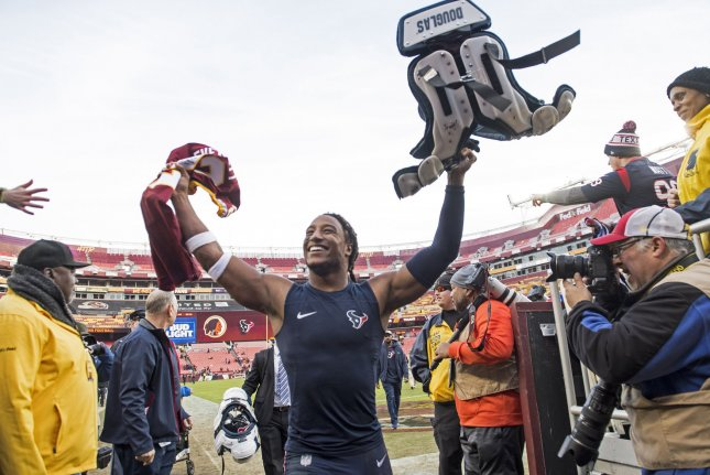 Houston Texans strong safety Justin Reid (20) celebrates after the Texans defeated the Washington Redskins 23-21 on Sunday at FedEx Field in Landover, Maryland. Photo by Kevin Dietsch/UPI