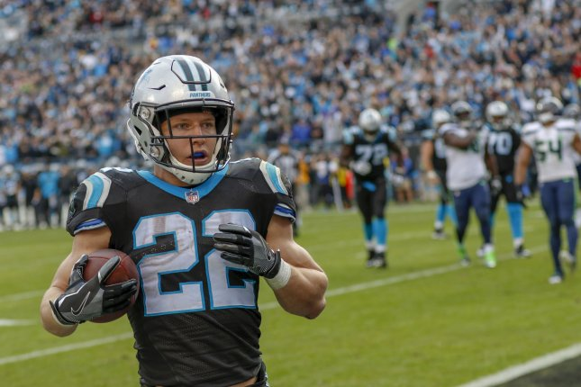 Carolina Panthers running back Christian McCaffrey led the NFL with 2,392 yards from scrimmage and 19 touchdowns on 403 touches in 16 starts last season. File Photo by Nell Redmond/UPI
