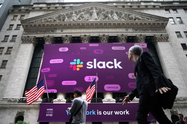 Cloud computing company Salesforce acquired workplace chat app Slack for $27.7 billion, the companies announced Tuesday. File Photo by John Angelillo/UPI