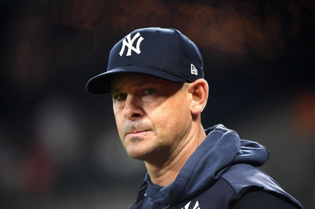 New York Yankees manager Aaron Boone could return to the team in two to three days. File Photo by Kevin Dietsch/UPI