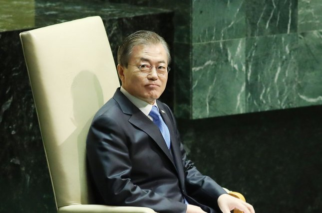 South Korean President Moon Jae-in's office said Tuesday it is dropping a complaint against an anti-Moon protester. File Photo by Monika Graff/UPI