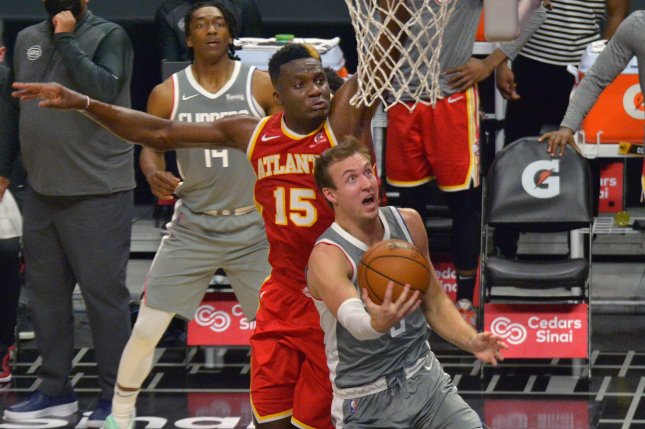 Atlanta Hawks center Clint Capela (15), shown March 22, 2021, had two years remaining on his current contract. File Photo by Jim Ruymen/UPI