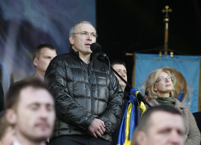Former Russian businessman, and now dissenter, Mikhail Khodorkovsky, speaks during a rally in Independence Square in Kiev on March 9, 2014. Moscow homes of employees of his Open Russia movement raided by police Tuesday. File photo by Ivan Vakolenko/UPI