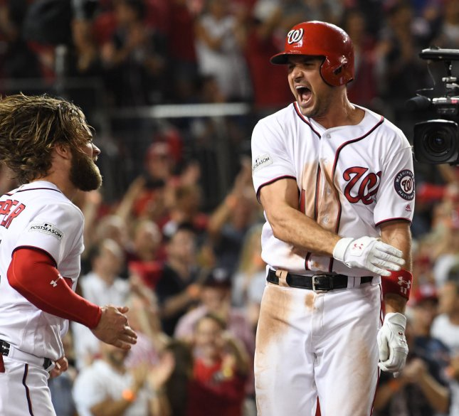 Ryan Zimmerman of the Washington Nationals celebrates his three-run, game-winning home run with Bryce Harper in the eighth inning against the Chicago Cubs in Game 2 of the NLDS on Saturday. Photo by Pat Benic/UPI