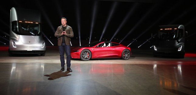 Elon Musk, chairman and CEO of Tesla, unveils the company's new electric semi-truck in Hawthorne, Calif., on Thursday. Photo by Tesla/UPI
