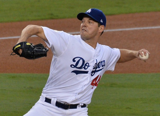Rich Hill and the Los Angeles Dodgers face the Milwaukee Brewers on Friday. Photo by Jim Ruymen/UPI
