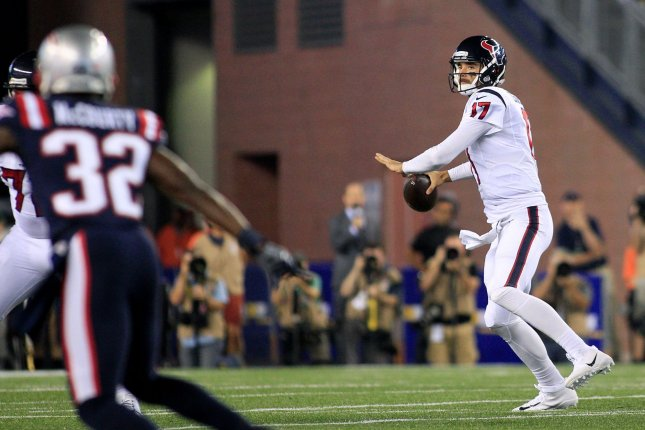 Former Houston Texans quarterback Brock Osweiler (17) drops back for a pass in the second quarter against the New England Patriots on September 22, 2016 at Gillette Stadium in Foxborough, Massachusetts. File photo by Matthew Healey/UPI