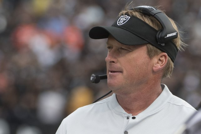 Oakland Raiders Head Coach Jon Gruden watches his team defeat the Cleveland Browns at the Coliseum in Oakland, California on September 30, 2018. The Raiders defeated the Browns 45-42 in overtime. Photo by Terry Schmitt/UPI