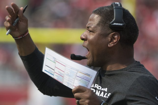 Arizona Cardinals head coach Steve Wilks yells to his team during a game against the San Francisco 49ers at Levi's Stadium in Santa Clara, California on October 7, 2018. Photo by Terry Schmitt/UPI
