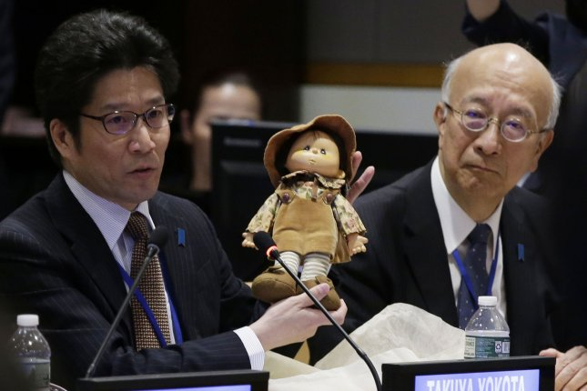Japan's Ambassador to the United Nations Koro Bessho (R) said the international community must send a strong signal through the Security Council regarding North Korea nuclear dismantlement. File Photo by John Angelillo/UPI