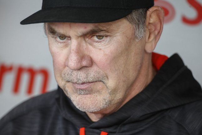 San Francisco Giants manager Bruce Bochy will retire following his 13th season with the franchise. Bochy has won three World Series titles with the club. File Photo by Kamil Krzaczynski/UPI