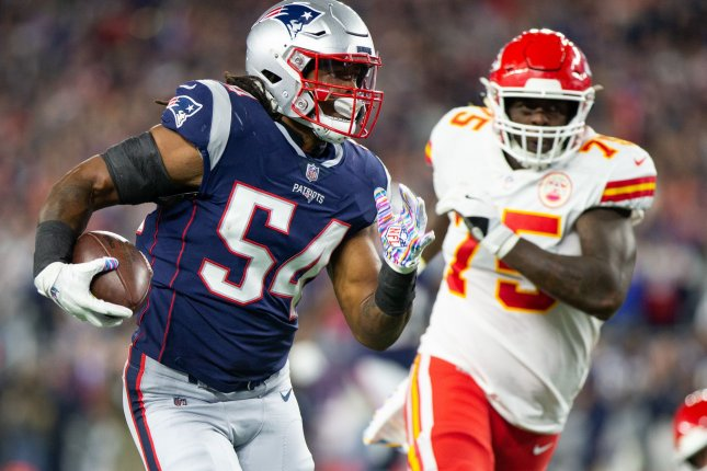 New England Patriots linebacker Dont'a Hightower (54) is one of nearly 50 players who have opted out of the 2020 season ahead of Thursday's deadline, which was recently imposed by the league. File Photo by Matthew Healey/UPI