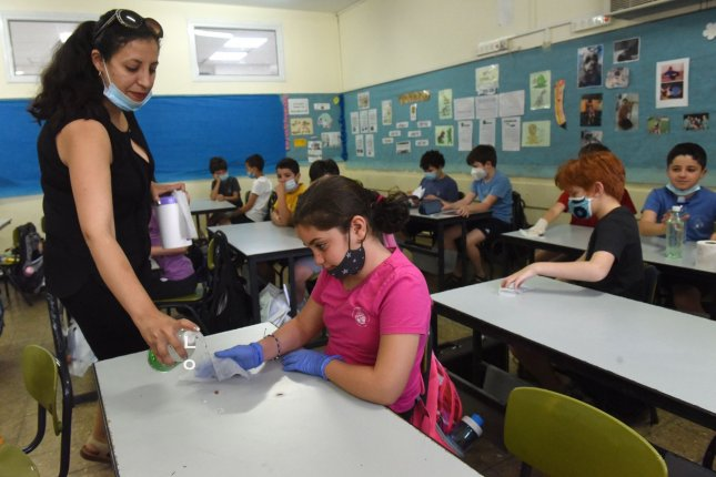 Students are seen at the Yankus Korchak Elementary School in Jerusalem, Israel, on May 18. Top officials are planning to open all Israel schools at the start of September, partly to aid the economy. File Photo by Debbie Hill/UPI