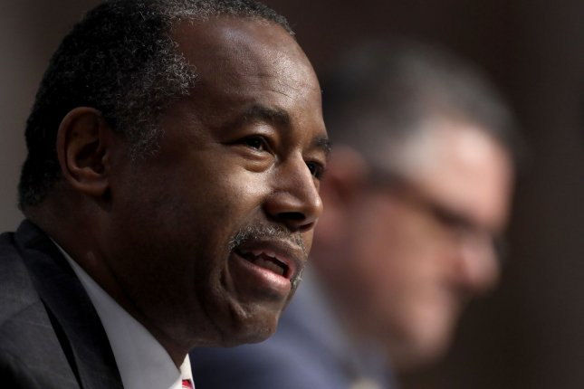 Secretary of Housing and Urban Development Ben Carson testifies on June 9 before the Senate banking, housing and urban affairs committee. File Photo by Win McNamee/UPI/Pool