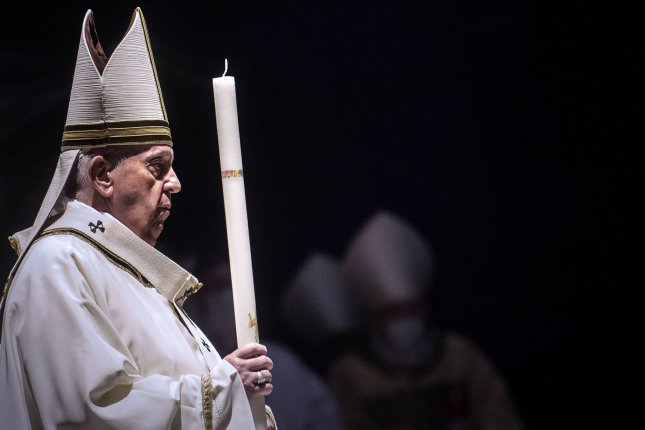 Pope Francis is seen during Easter Vigil Mass in St. Peter's Basilica at the Vatican on April 4. Photo by Stefano Spaziani/UPI