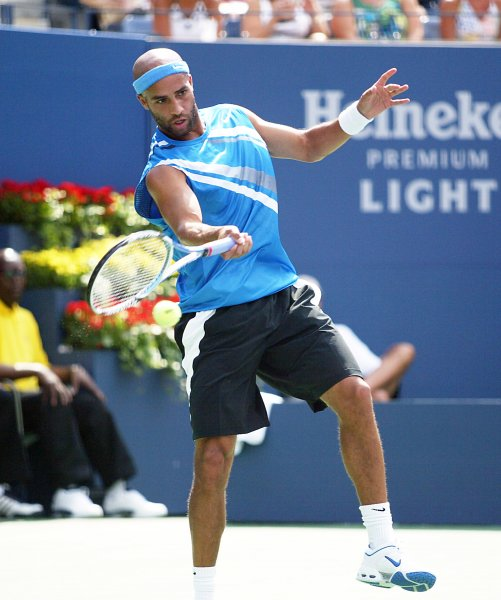 James Blake of the USA plays against Michael Russell of the USA during Round 1 of the U.S. Open at the USTA Billie Jean King National Tennis Center in Flushing Meadows-Corona Park in New York on August 28, 2007. (UPI Photo/Laura Cavanaugh)
