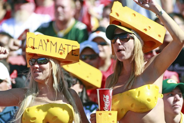 Cheese-heads and Clay Matthews fans celebrate during play between the San Francisco 49ers and Green Bay Packers at Candlestick Park in San Francisco on September 8, 2013. (File/UPI/Bruce Gordon)