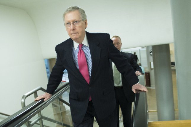 Senate Majority Leaders Mitch McConnell (R-KY) makes his way to the Senate Champers on Capitol Hill in Washington, D.C., March 10, 2015. Forty-seven Republican senators signed a letter to Iranian leaders informing them that any nuclear deal reached with President Obama would be tossed out when a new president takes office. Photo by Kevin Dietsch/UPI
