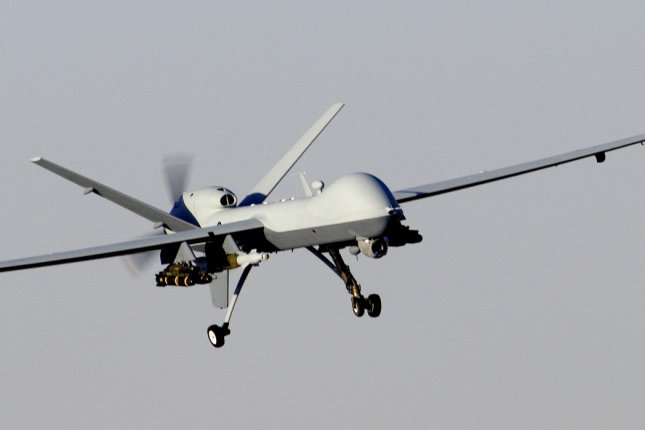 An Air Force MQ-9 Reaper unmanned aerial attack vehicle prepares to land after a mission in support of Operation Enduring Freedom in Afghanistan on Nov. 27, 2009. On Oct. 19, 2015, a U.S. drone was forced to make an emergency landing in southern Turkey after suffering a technical failure. Since July 2015, U.S. military forces have deployed drone and fighter aircraft from Incirlik Air Base in Turkey against Islamic State militants in Syria. UPI/Brian Ferguson/U.S. Air Force